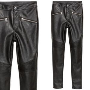 H&M Quilted Faux Leather Moto Pants NWT Sz 6